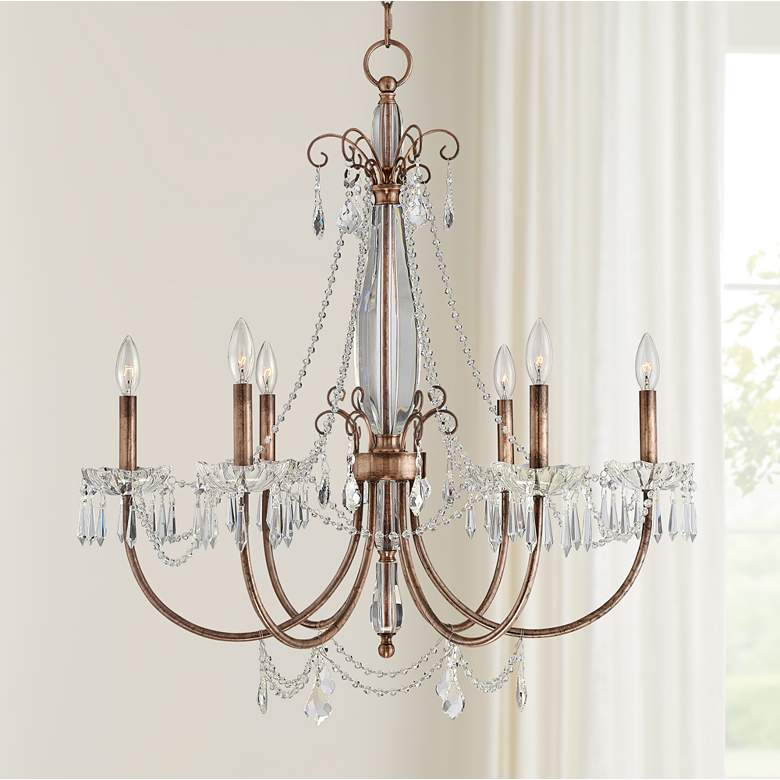 "Phillipa 30"" Wide Copper and Crystal 6-Light Chandelier"