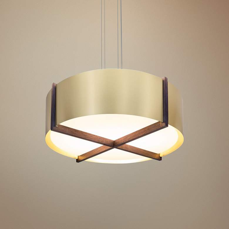 "Cerno Plura 30"" Wide Brushed Brass LED Pendant"