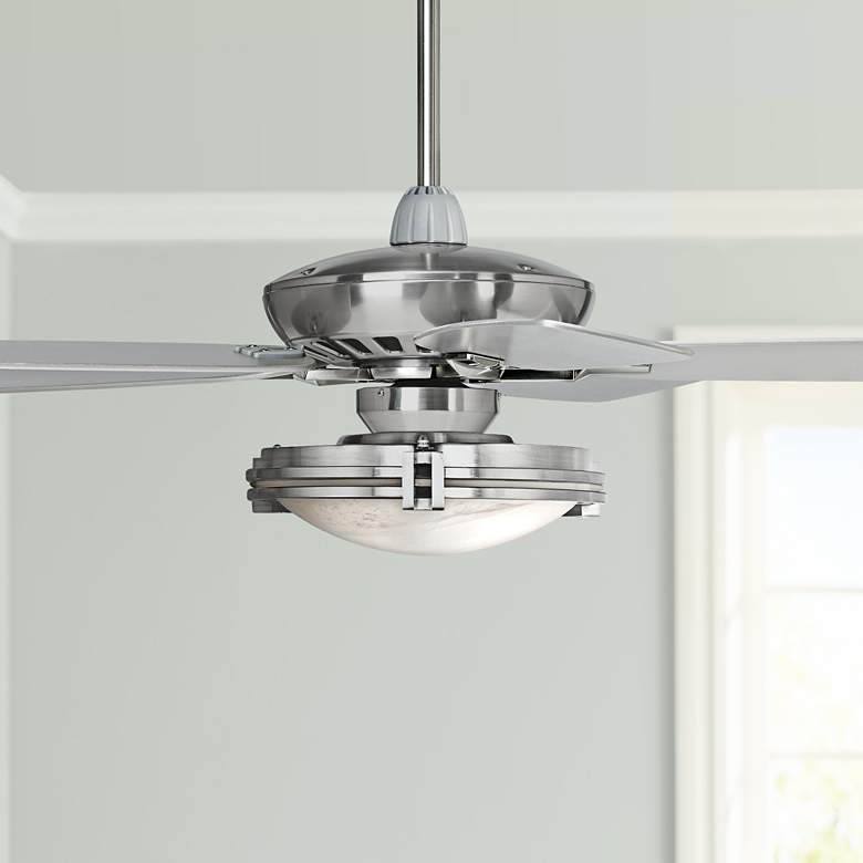 "52"" Journey Brushed Nickel Marbleized Glass LED Ceiling Fan"