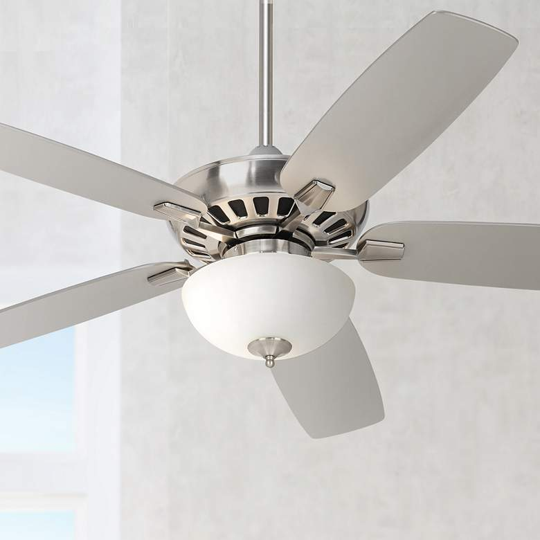 "52"" Journey Brushed Nickel White Glass Bowl LED Ceiling Fan"