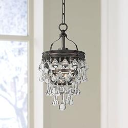 "Calypso 7 1/2""W Vibrant Bronze and Crystal Mini Chandelier"
