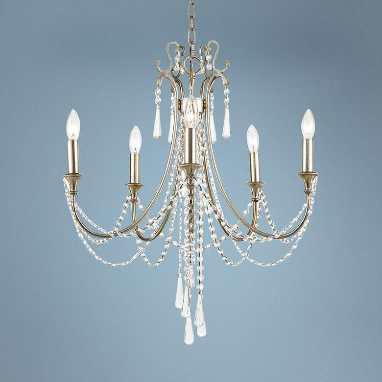 "Arcadia 23 1/2""W Antique Silver Crystal 5-Light Chandelier"