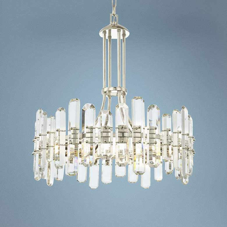 "Crystorama Bolton 25""W Polished Nickel Crystal Chandelier"