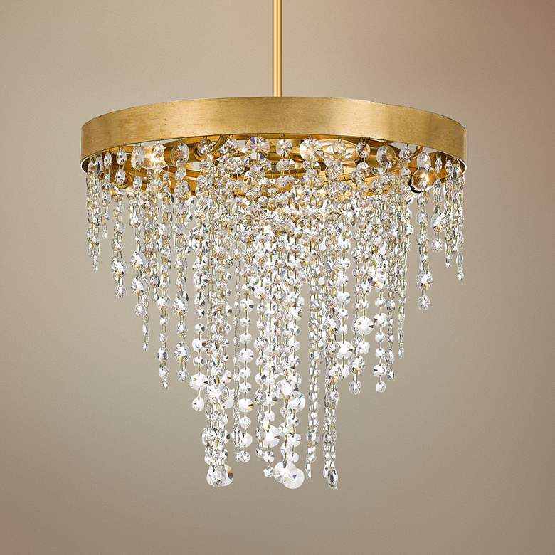 "Crystorama Winham 20""W Antique Gold and Crystal Chandelier"