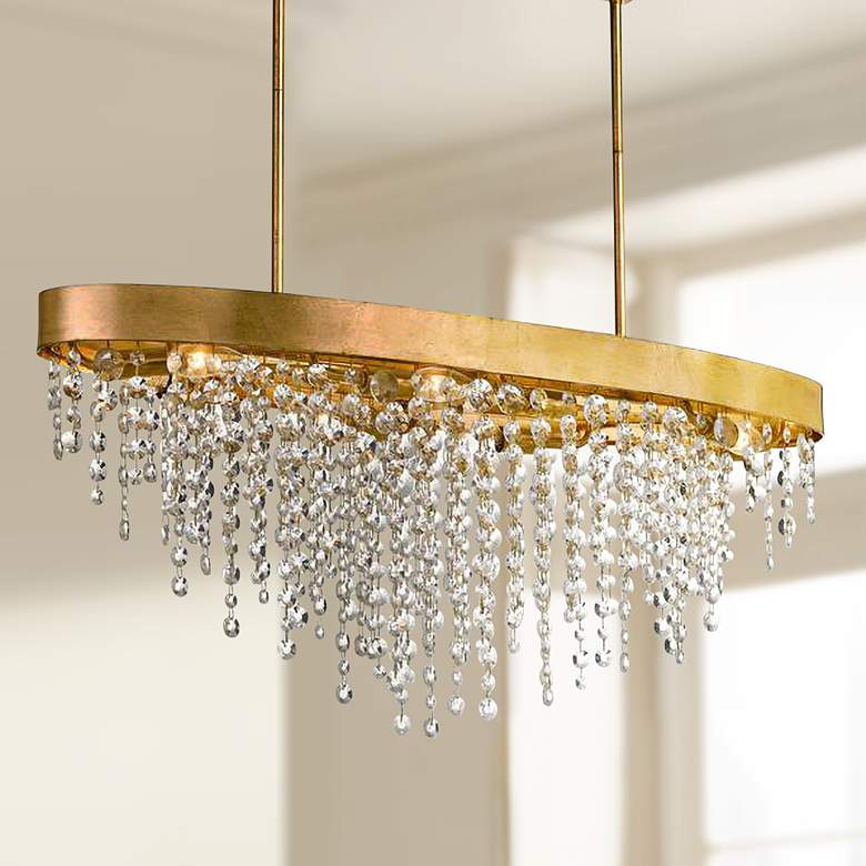 "Crystorama Winham 36""W Gold and Crystal Island Chandelier"