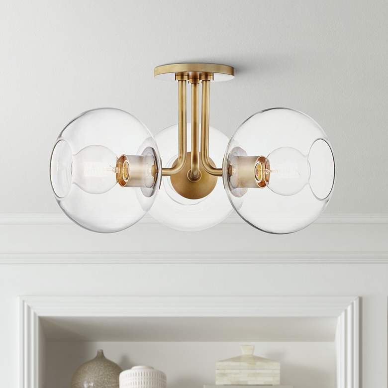 "Mitzi Margot 20"" Wide 3-Light Aged Brass Ceiling Light"