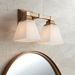 "Mencino-Opal 12 3/4""W Warm Brass and Opal Glass Bath Light"