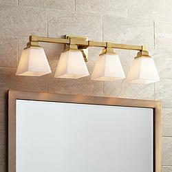 "Mencino-Opal 28"" Wide Warm Brass and Opal Glass Bath Light"