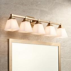 "Mencino-Opal 35 1/4""W Warm Brass and Opal Glass Bath Light"