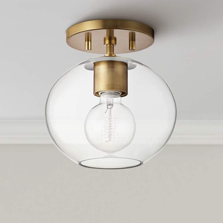 """Mitzi Margot 8 1/4"""" Wide Aged Brass Ceiling Light"""