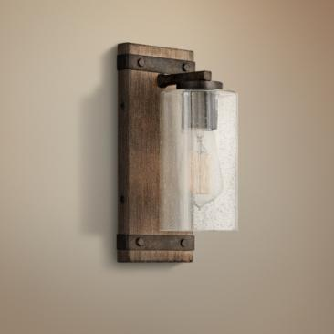 "Hinkley Sawyer 11"" High Sequoia Wood Wall Sconce"