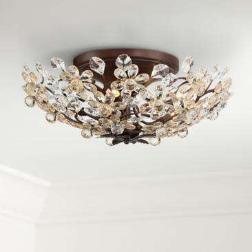 "Crystal Blooms 21"" Wide Weathered Brown Ceiling Light"