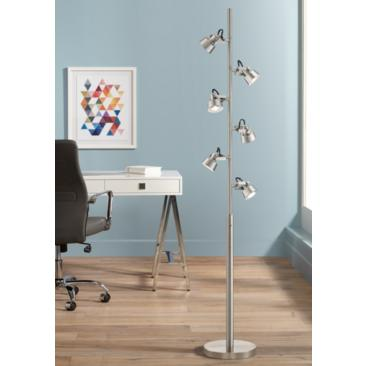 Polaris Brushed Steel 6-Light Trac Tree Floor Lamp
