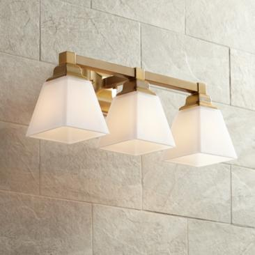 "Mencino-Opal 20"" Wide Warm Brass and Opal Glass Bath Light"