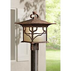 Country cottage post light outdoor lighting lamps plus kichler distressed copper 15 high outdoor post light aloadofball Image collections