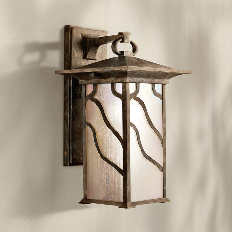 "Iridized Seedy Glass 15"" High Outdoor Wall Lantern"