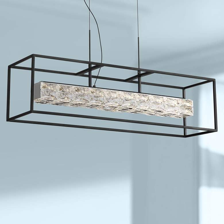 "Roxbury 35 1/2"" Wide Black LED Kitchen Island Light Pendant"