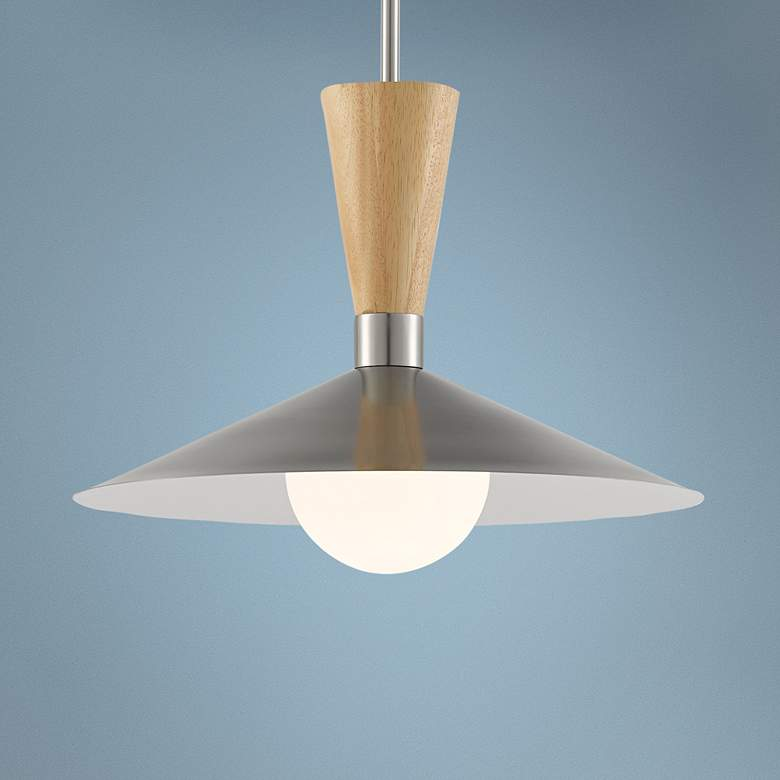 "Beaufort 18""W Brushed Nickel and Natural Wood Pendant"