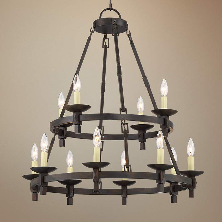 "Balsimo 26""W Bronze 2-Tier 12-Light Wagon Wheel Chandelier"