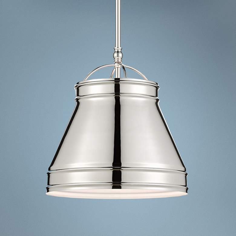 "Currey and Company Lumley 13""W Polished Nickel Pendant"