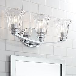 "Hughson 24"" Wide Chrome and Glass 3-Light Bath Light"