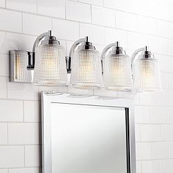 "Parlier 29 1/2"" Wide Chrome and Glass 4-Light Bath Light"