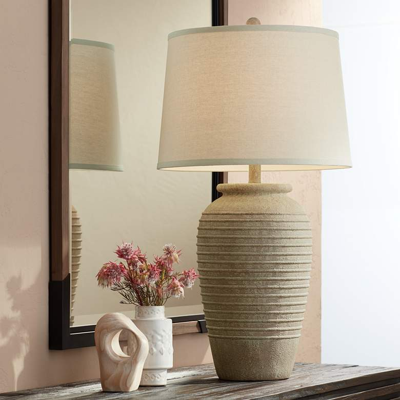 Austin Sand Toned Ridged Southwest Rustic Jug Table Lamp