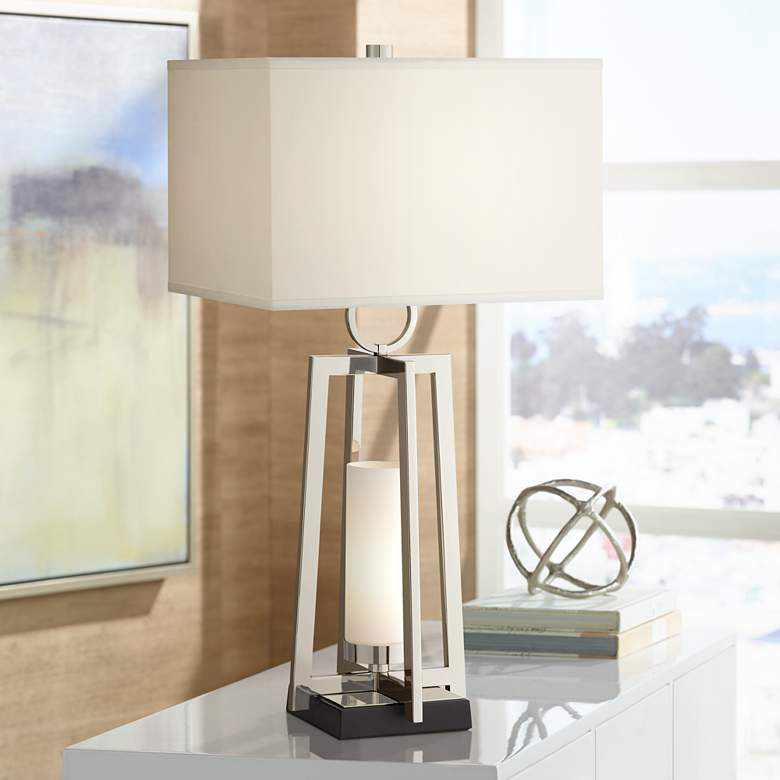 Possini Euro Alfaro Polished Nickel Night Light Table Lamp