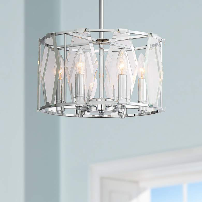 "Krakow 14"" Wide Chrome and Glass 6-Light Foyer Pendant Light"