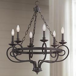 "Sebastian 26 3/4""W Bronze Transitional 6-Light Chandelier"