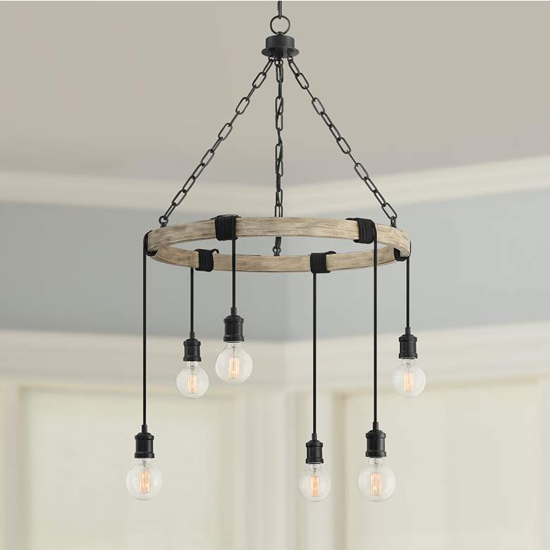 "Hangford 24 1/2"" Wide Black and Wood 6-Light Chandelier"