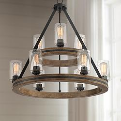 "Gorham 32"" Wide Gray Wagon Wheel 2-Tier 9-Light Chandelier"