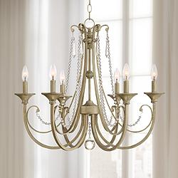 "Kristianne 26 1/2""W Soft Gold and Crystal 6-Light Chandelier"