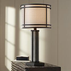 Rudy Dark Bronze and Gray Wood Column Table Lamp