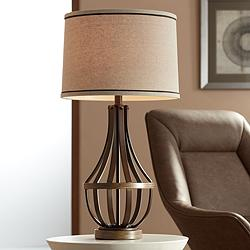 Louanne Oil-Rubbed Bronze Industrial Farmhouse Table Lamp