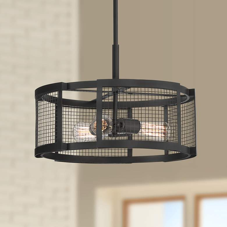 "Carrington 17 1/4"" Wide Bronze Mesh Metal Pendant"