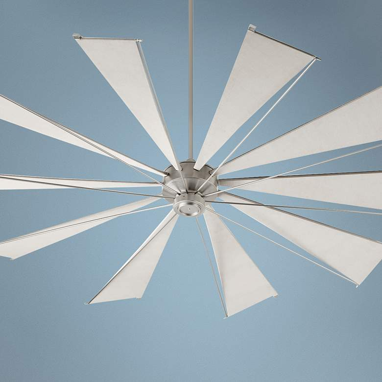 "92"" Quorum Mykonos Satin Nickel Ceiling Fan"