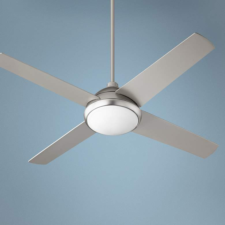 "52"" Quorum Quest Satin Nickel LED Ceiling Fan"