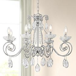 "Liliana 29 1/2""W Chrome and Crystal 8 Light Chandelier"