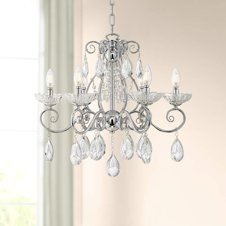 "Liliana 23 1/2"" Wide Chrome and Crystal 6-Light Chandelier"