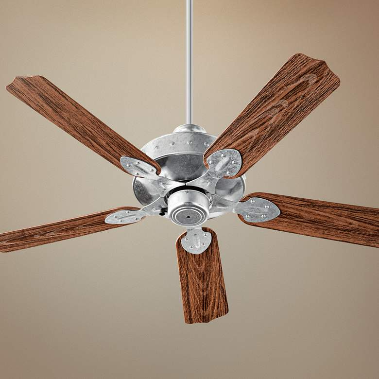 "52"" Quorum Hudson Galvanized - Walnut Patio Ceiling Fan"