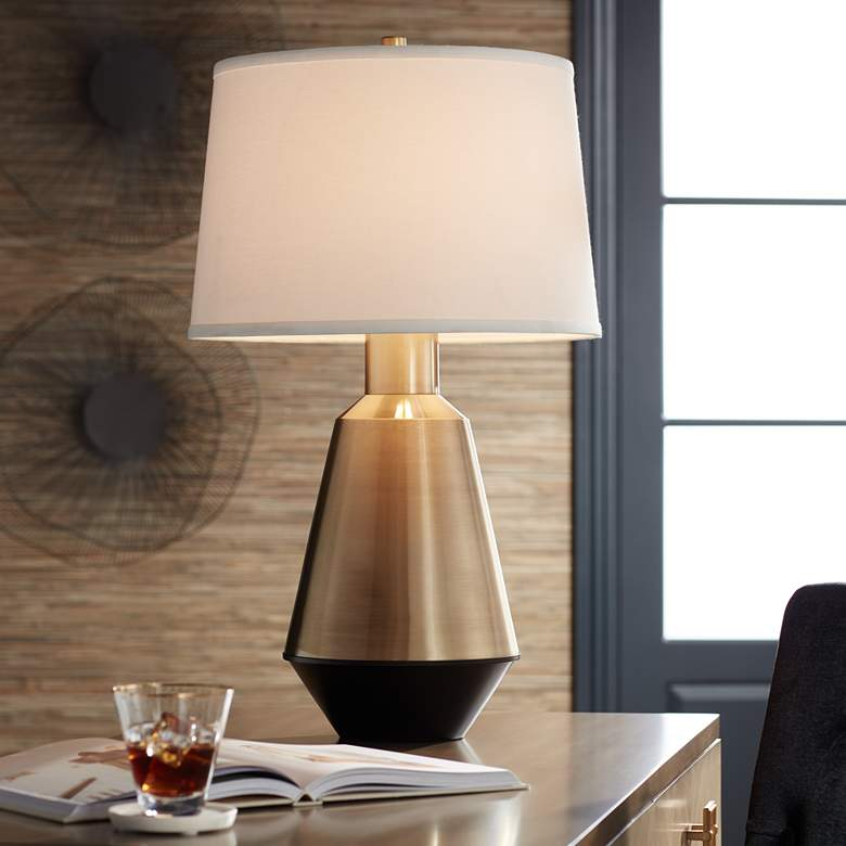 Possini Euro Cora Brass Modern Table Lamp