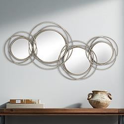 "Waverly 40 1/4""W Glossy Rose Gold Wire Metal Mirror Wall Art"