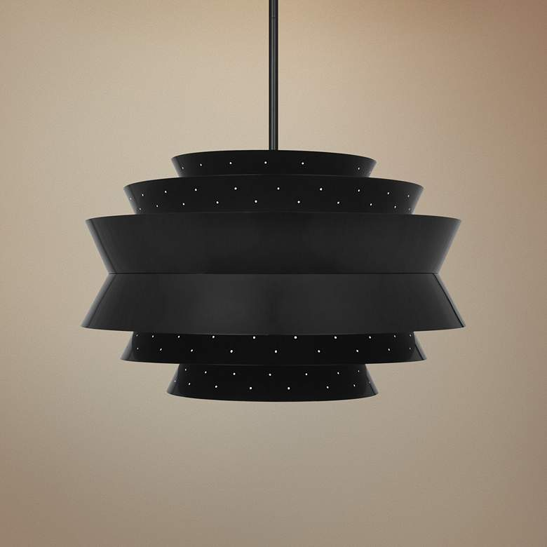 "Robert Abbey Pierce 23"" Wide Plated Black Pendant"