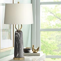 Possini Euro Ernest Black Faux Marble Table Lamp