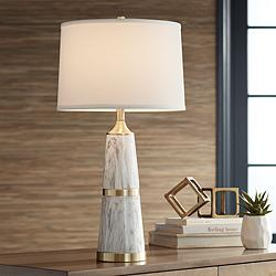 Possini Euro Irina White Faux Marble Table Lamp