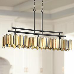 "Swallow 41 1/4"" Wide Art Glass Kitchen Island Light Pendant"