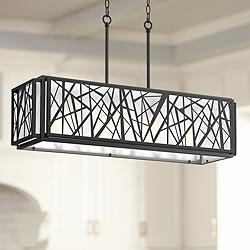 "Margolis 36"" Wide Black 4-Light Kitchen Island Light Pendant"