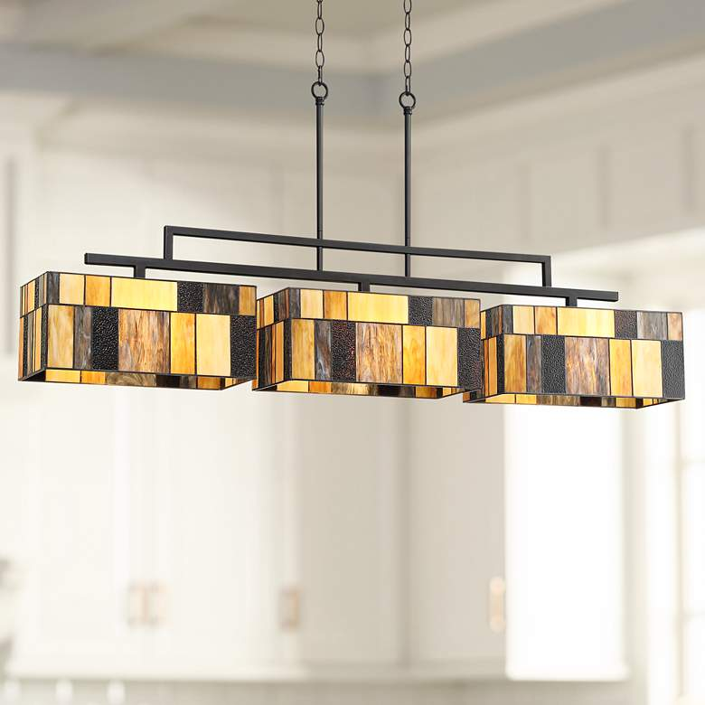 "Serra 52 1/4""W Bronze Art Glass Kitchen Island Light Pendant"