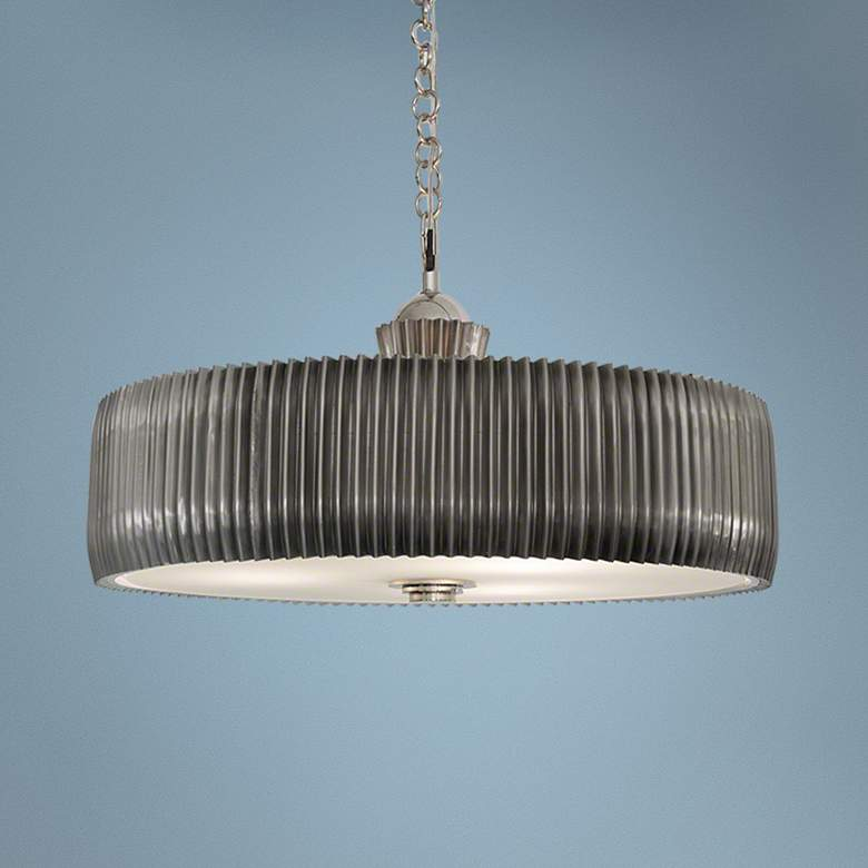 "Global Views Crimp 32""W Antique Nickel Drum Pendant Light"